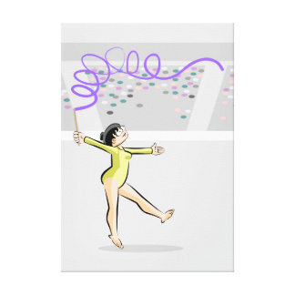 Young artistic gymnastics dancing with the tape canvas print
