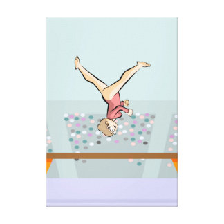 Young artistic gymnastics turning in the air canvas print