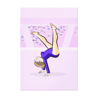 Young artistic gymnastics with the high legs canvas print