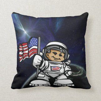 Young Astronaut in space Throw Pillow