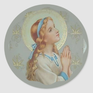Young Blessed Mother Mary praying Classic Round Sticker