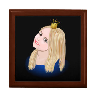 Young blond princess wearing crown gift box