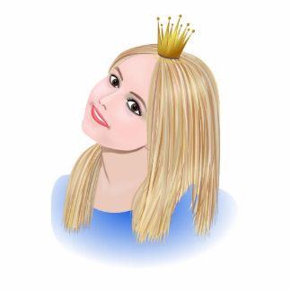 Young blond princess wearing crown standing photo sculpture