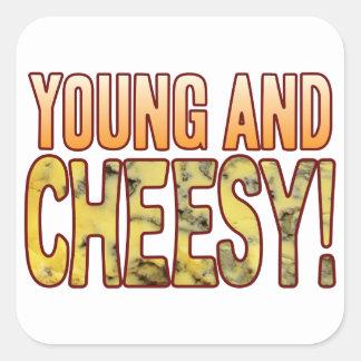 Young Blue Cheesy Square Sticker