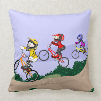 Young BMX competing in earth track Throw Pillow