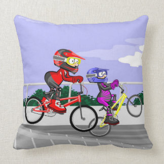Young BMX competing in its bicycles Throw Pillow