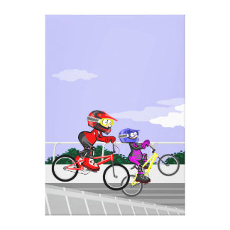 Young BMX cycling competing for being the best one Canvas Print