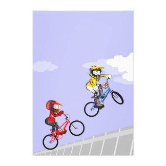 Young BMX cycling jumping the incline Canvas Print