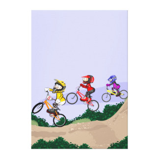 Young BMX cycling lowering the hill with style Canvas Print