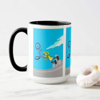 Young BMX flies by the air with their blue bicycle Mug