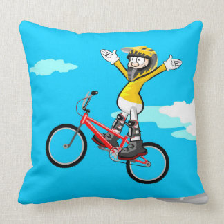 Young BMX flying by the air in its bicycle Throw Pillow