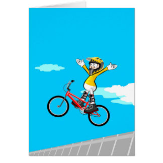 Young BMX flying by the air with its arms in stop Card