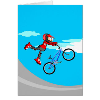 Young BMX flying by the air with its bicycle Card