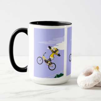 Young BMX flying in its bicycle like a rocket Mug