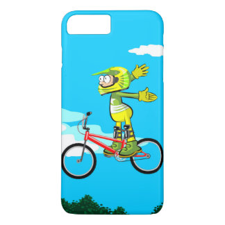 Young BMX gives a jump in their red bicycle Case-Mate iPhone Case
