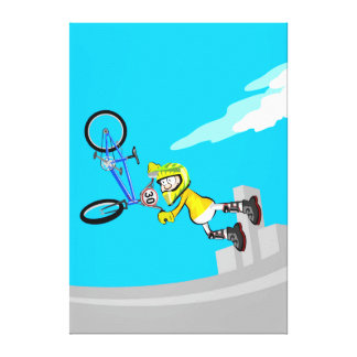 Young BMX in its bicycle doing acrobatics Canvas Print