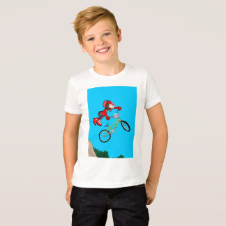 Young BMX in its bicycle doing acrobatics T-Shirt