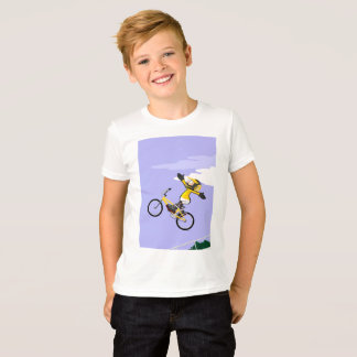 Young BMX in its bicycle flying T-Shirt