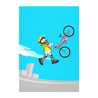 Young BMX in its bicycle jumping in the air Canvas Print
