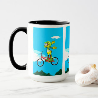 Young BMX in its bicycle rising flight Mug