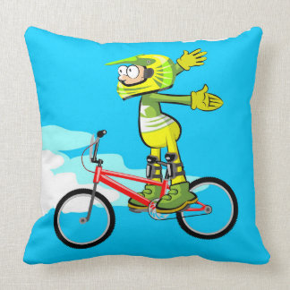 Young BMX in its bicycle stopped in the pedals Throw Pillow