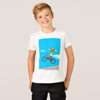 Young BMX in its bicycle with the arms in stop T-Shirt