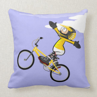 Young BMX in its bicycle with the extended arms Throw Pillow