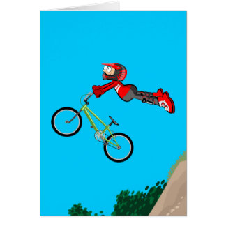 Young BMX in its bicycle without fear to the Card