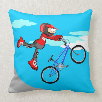 Young BMX jumping by the air in the incline Throw Pillow
