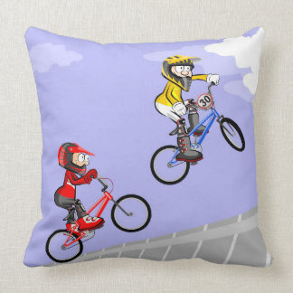 Young BMX jumping in the incline by the air Throw Pillow