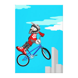 Young BMX of a side of its bicycle Canvas Print