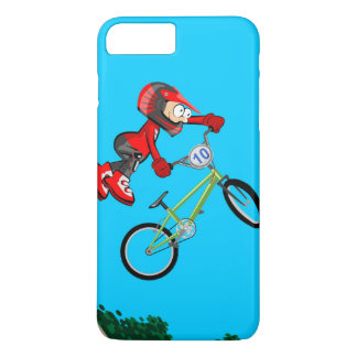 Young BMX of the red equipment making a pirouette Case-Mate iPhone Case