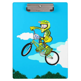 Young BMX turning in the air in its bicycle Clipboard