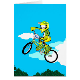Young BMX turning in the air with its bicycle Card