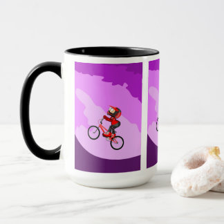 Young BMX with its bicycle raising the hill Mug