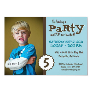 Young Boy Photo Brown Blue Birthday Party Card