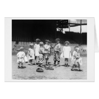 Young Boys and Girls on the Baseball Field Card
