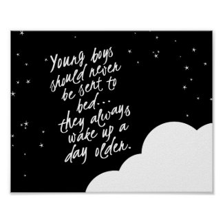 Young Boys Should Never... Peter Pan Wall Decor Poster