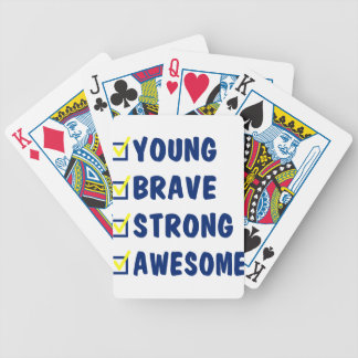 Young brave strong awesome bicycle playing cards