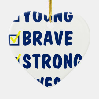 Young brave strong awesome ceramic ornament