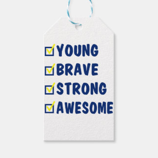 Young brave strong awesome pack of gift tags
