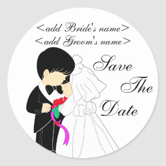 Young Bride and Groom Round Sticker