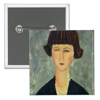 Young Brunette, 1917 (oil on canvas) 2 Inch Square Button