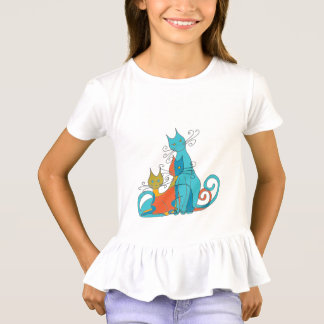 young camiaeta with printed steering wheel of cats T-Shirt