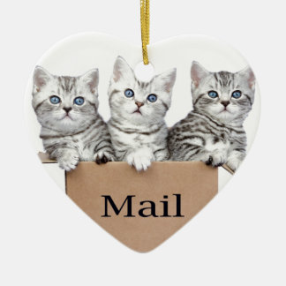 Young cats in cardboard box with word Mail Ceramic Heart Ornament