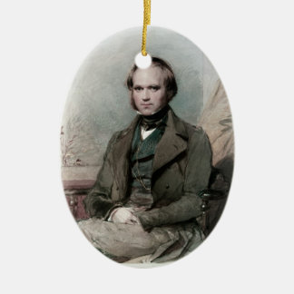 Young Charles Darwin Portrait Oval Ornament