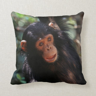 Young Chimpanzee hanging at forest Throw Pillow