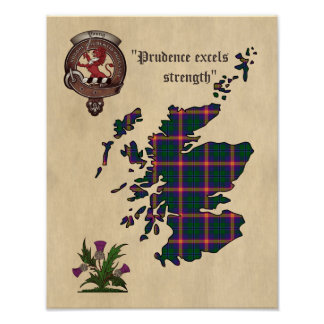 Young Clan Badge and Tartan Poster 11x14