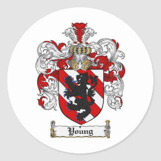 Young Coat of Arms Young Family Crest Round Sticker