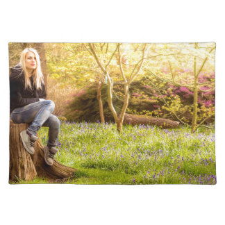 Young cool woman relaxing at spring time placemat